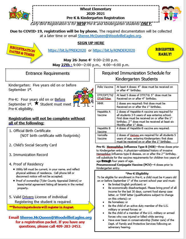 PreK & Kinder Roundup- Registration for 2020-2021