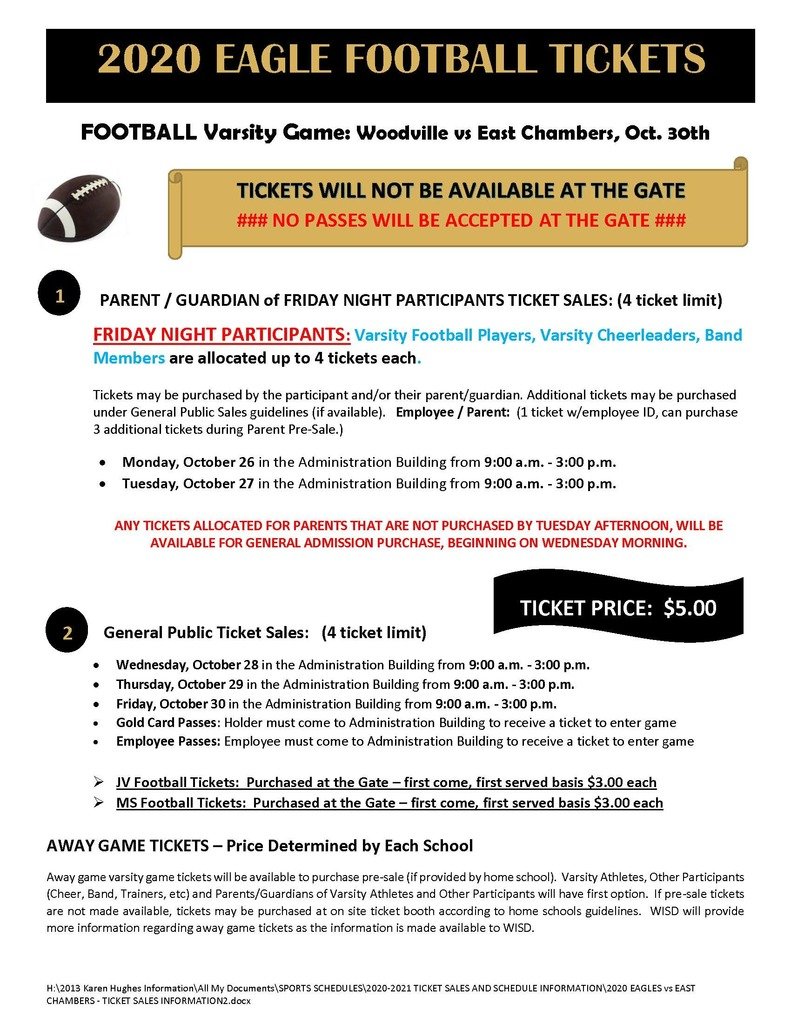 Ticket Information for Woodville vs East Chambers