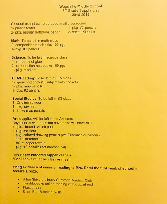 6th Grade School Supply List.