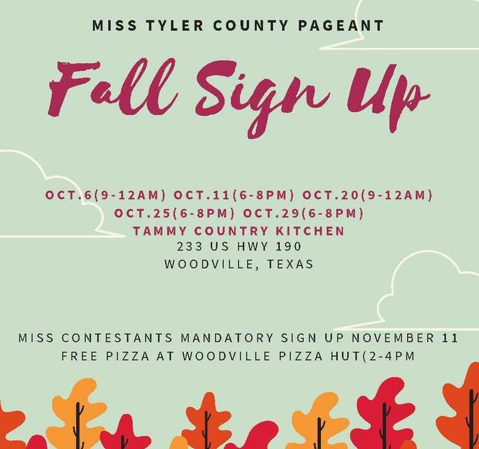 Miss Tyler County Pageant Signup Info