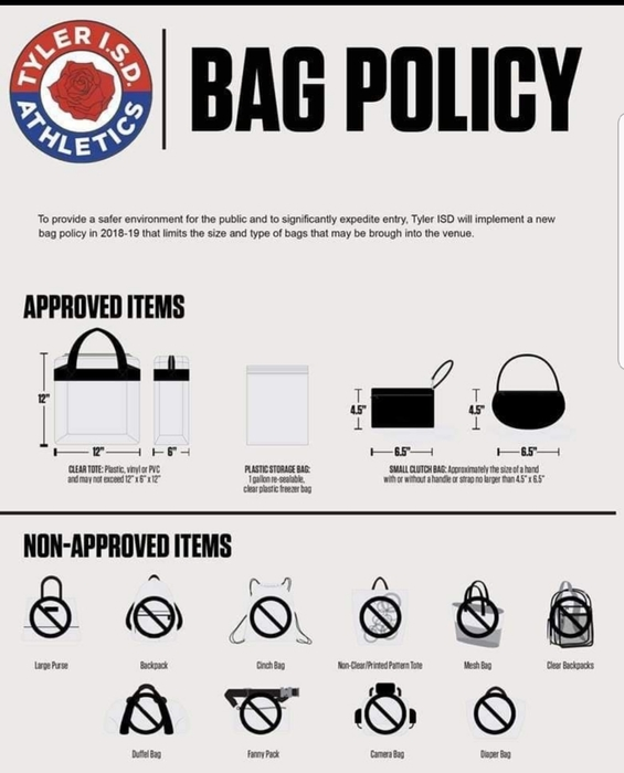 Tyler Rose Stadium Bag Policy