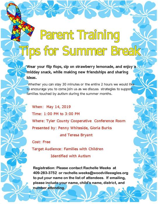 Parent Training Tips for Summer Break