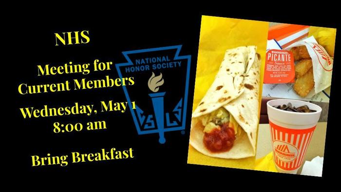 NHS Meeting Wednesday, May 1