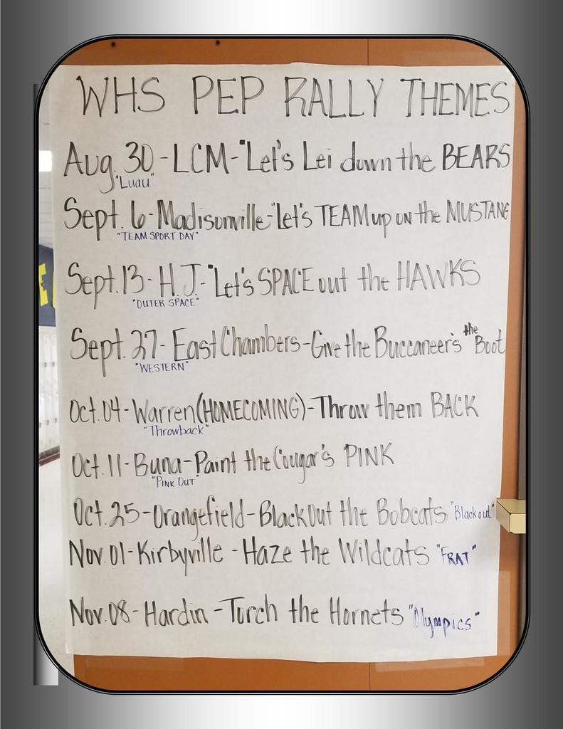 WHS Pep Rally Schedule