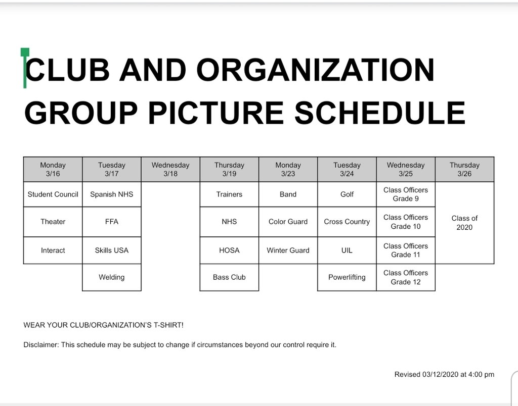 Club & Organization Group Picture Schedule