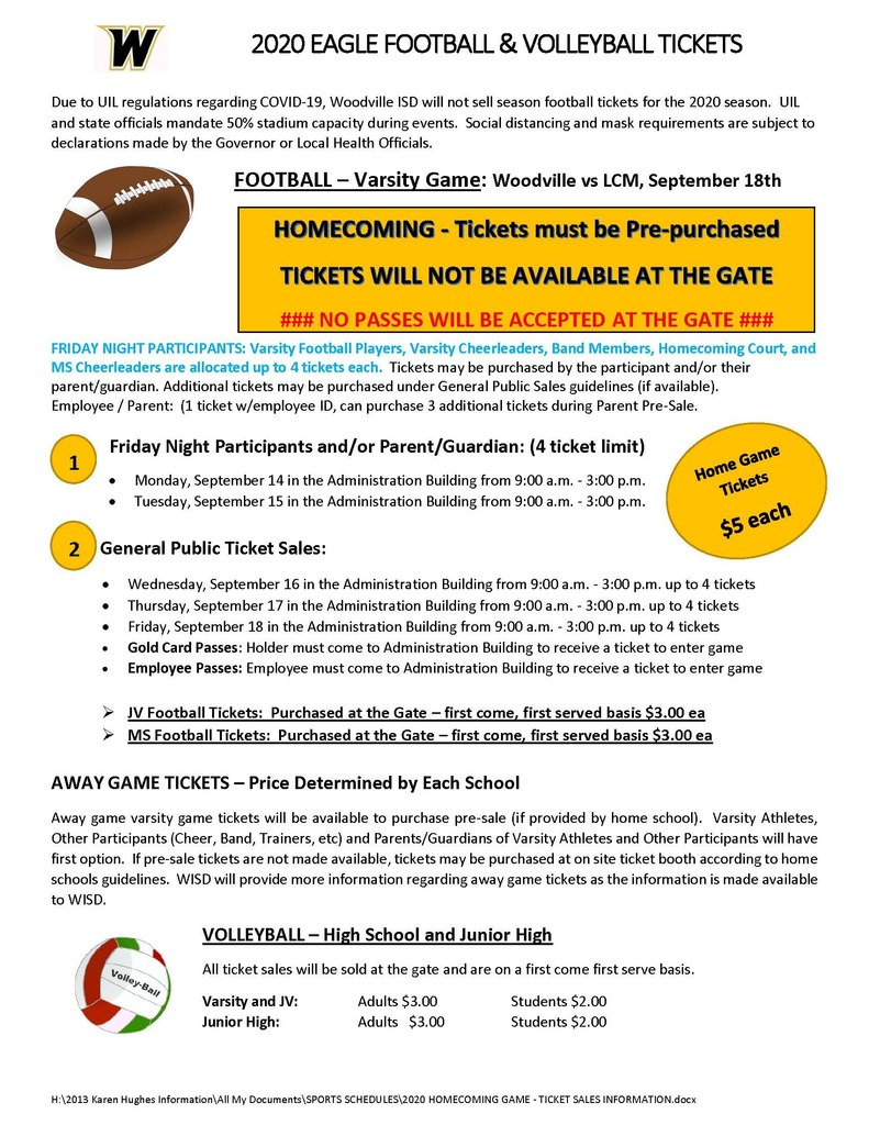 Homecoming Game Ticket Information